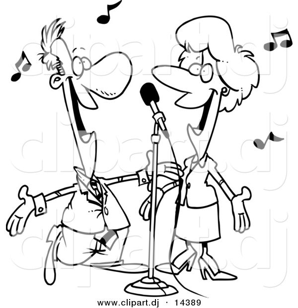 Vector clipart of a cartoon couple singing coloring page outline