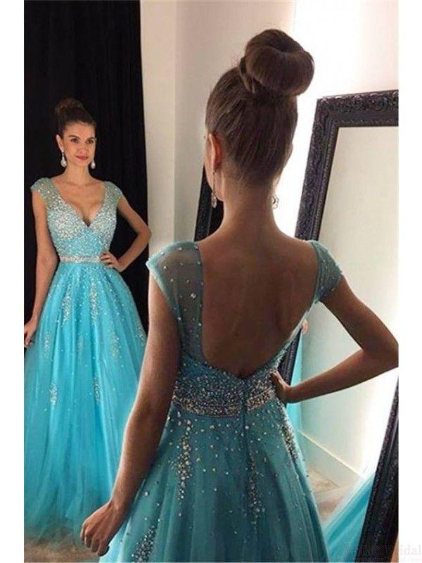 V-neck Cap Sleeves Beading Long Tulle  Prom Dresses Evening  Dresses  #SIMIBridal #promdresses