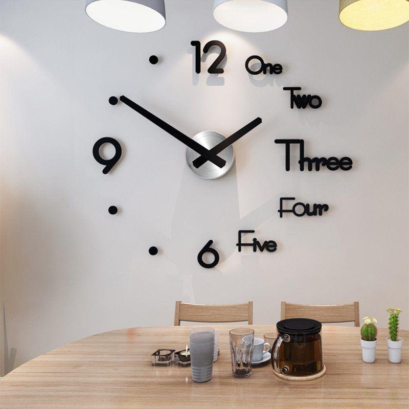 Acrylic Large Wall Clock Modern Design 3d Living Room Quartz Wall