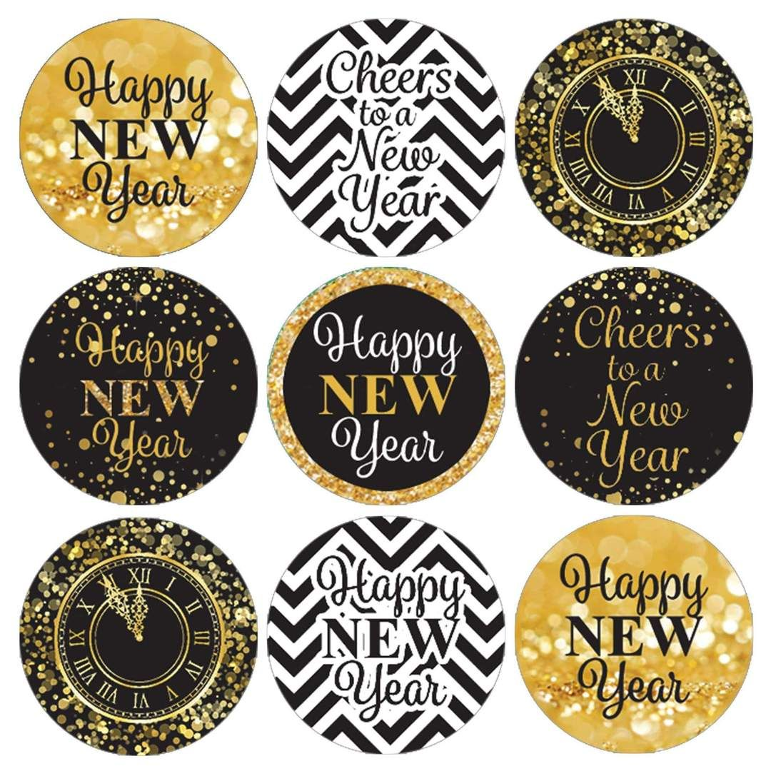 Black And Gold New Year S Eve Kiss Party Stickers 180 Count New Years Eve Kiss New Years Eve Decorations Kiss Party