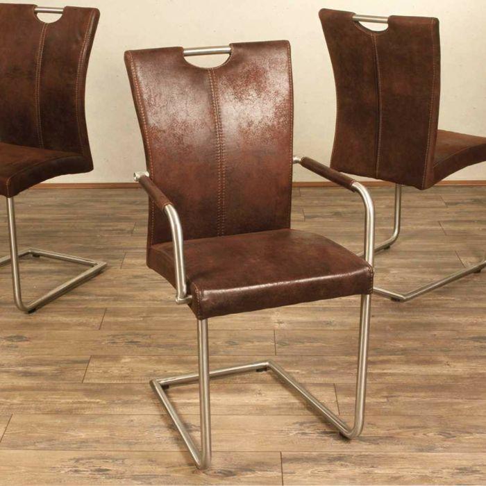 freischwinger stühle freischwinger Armlehnstuhl Liz in Braun - designer moebel weiss baxter