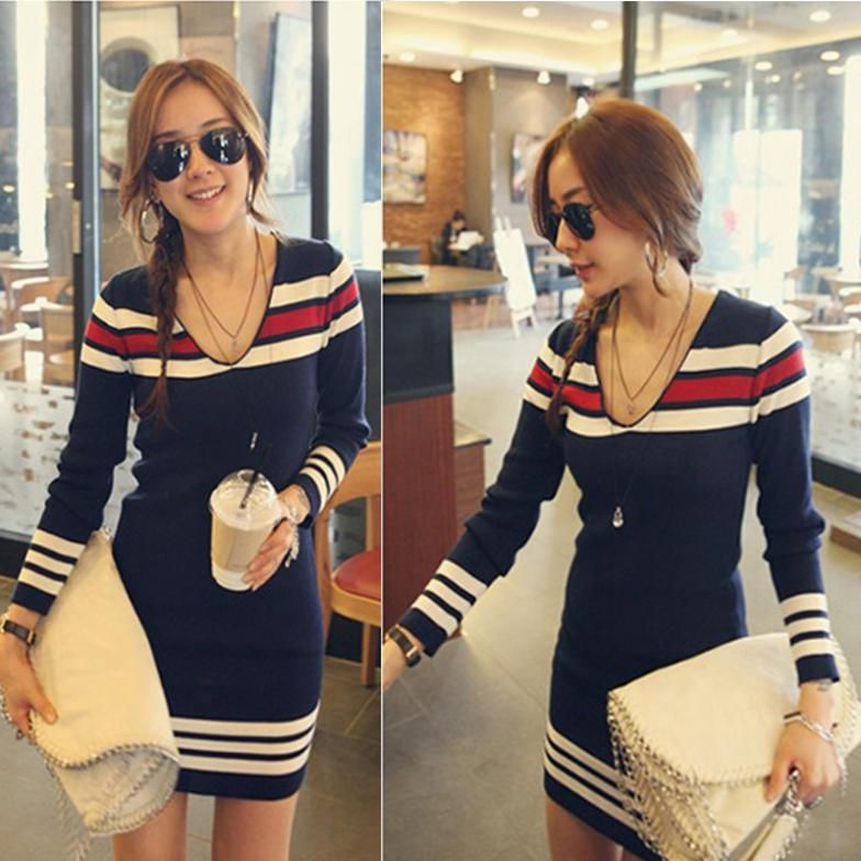 Fashion Women Blue Navy Stripe V Neck Long Sleeves Stretchy Slim Knit  Sweater Dress Knitted Tunic ... 4951a3698