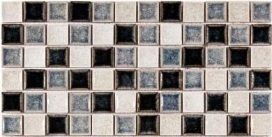 Mesh mosaic tile sliced in half to make a strip for part of backsplash