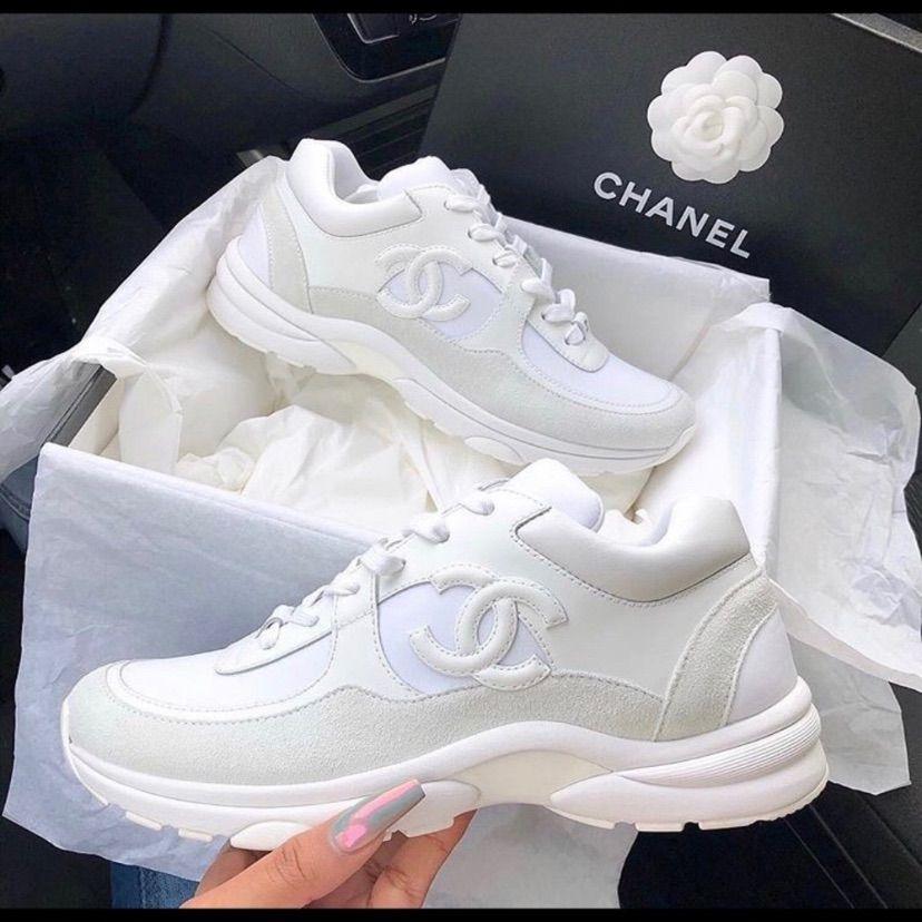 CHANEL CC Logo Triple White Sneakers