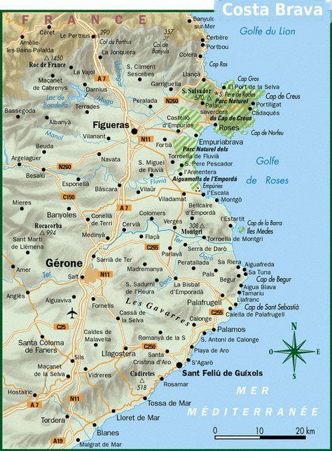 Carte Costa Brava Locations de villas en Espagne | spain