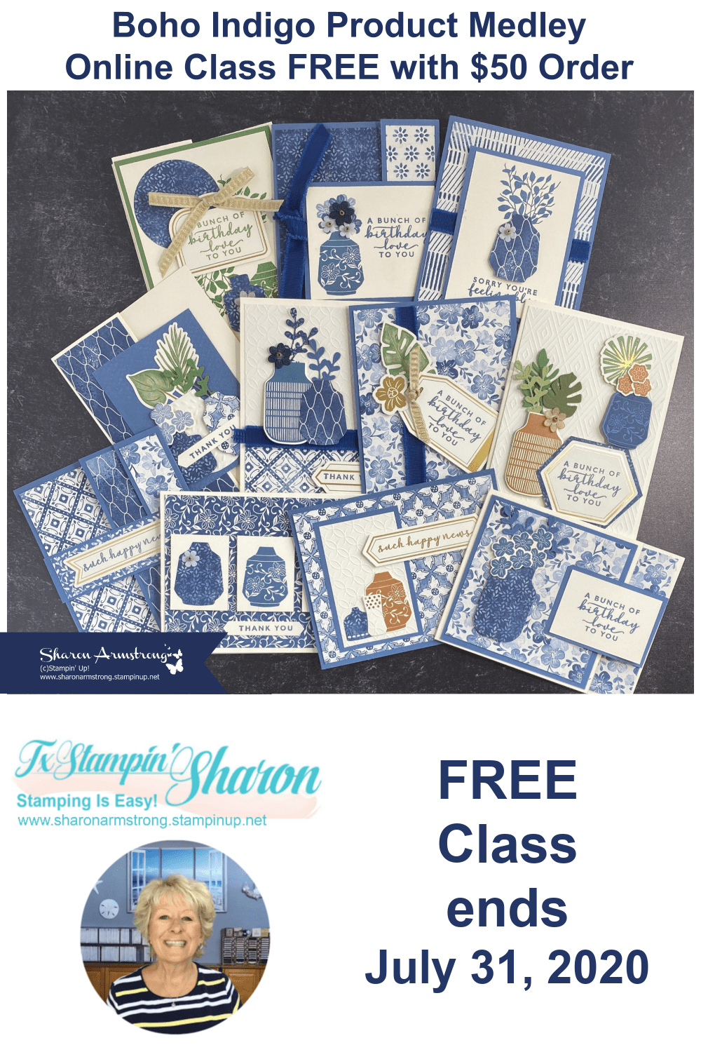 It's a new month so there is a new card making class available to you. For July 2020 it's the Boho Indigo card making class that you can get for free with a minimum purchase until July 31, 2020. Learn more at www.txstampin.com #cardmakingclass #cardmakingclassesvideotutorials #cardmakingclassideas #cardmakingtutorials #cardvideos #sharonarmstrong #txstampin