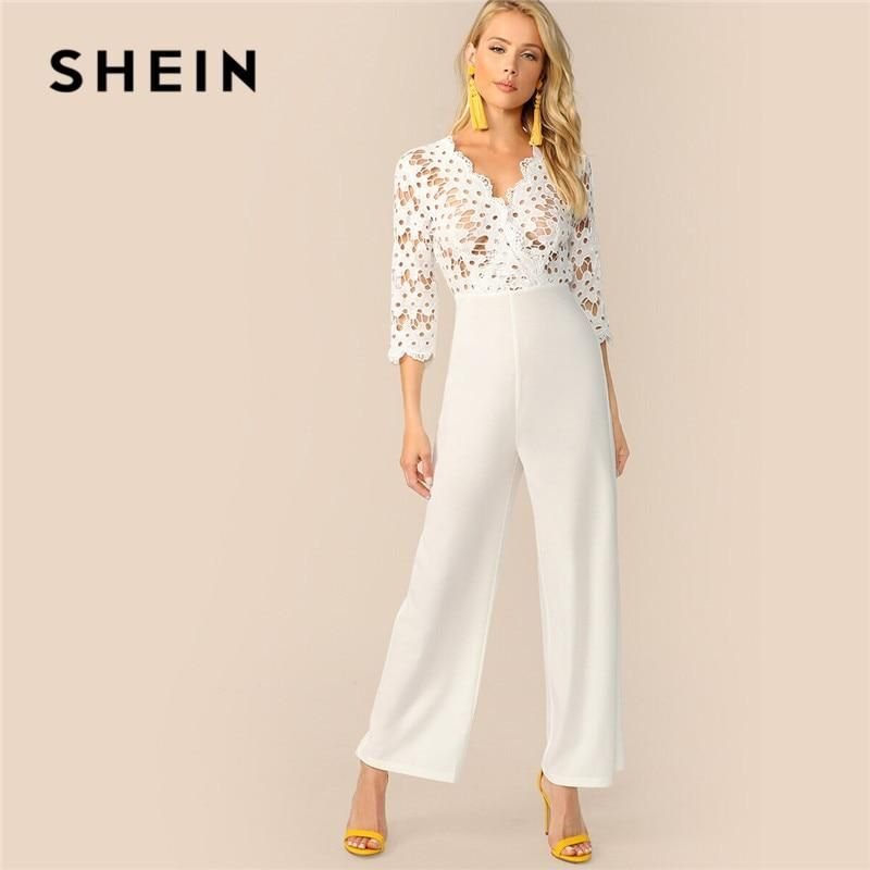 5aed97fd71b61d SHEIN Surplice Neck Guipure Lace Bodice White Jumpsuit Women Clothes 2019  Spring Summer Solid Mesh V