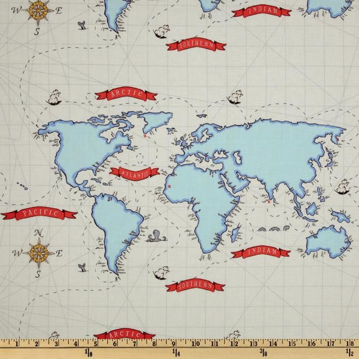 Michael miller out to sea nautical map white from fabricdotcom map fabric gumiabroncs Choice Image