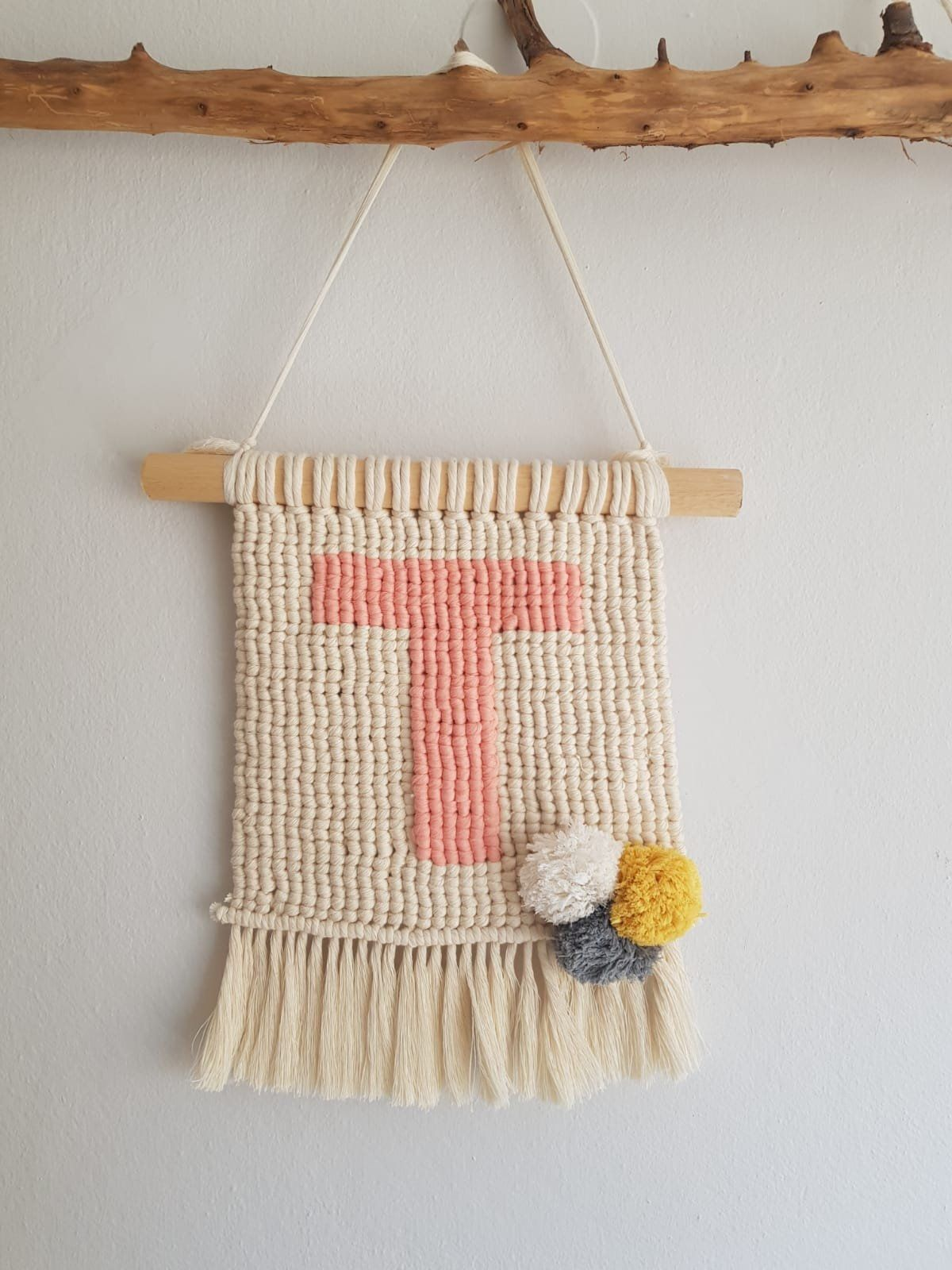 Pompom Macrame Wall Hanging With Letter T By Comunico On Etsy