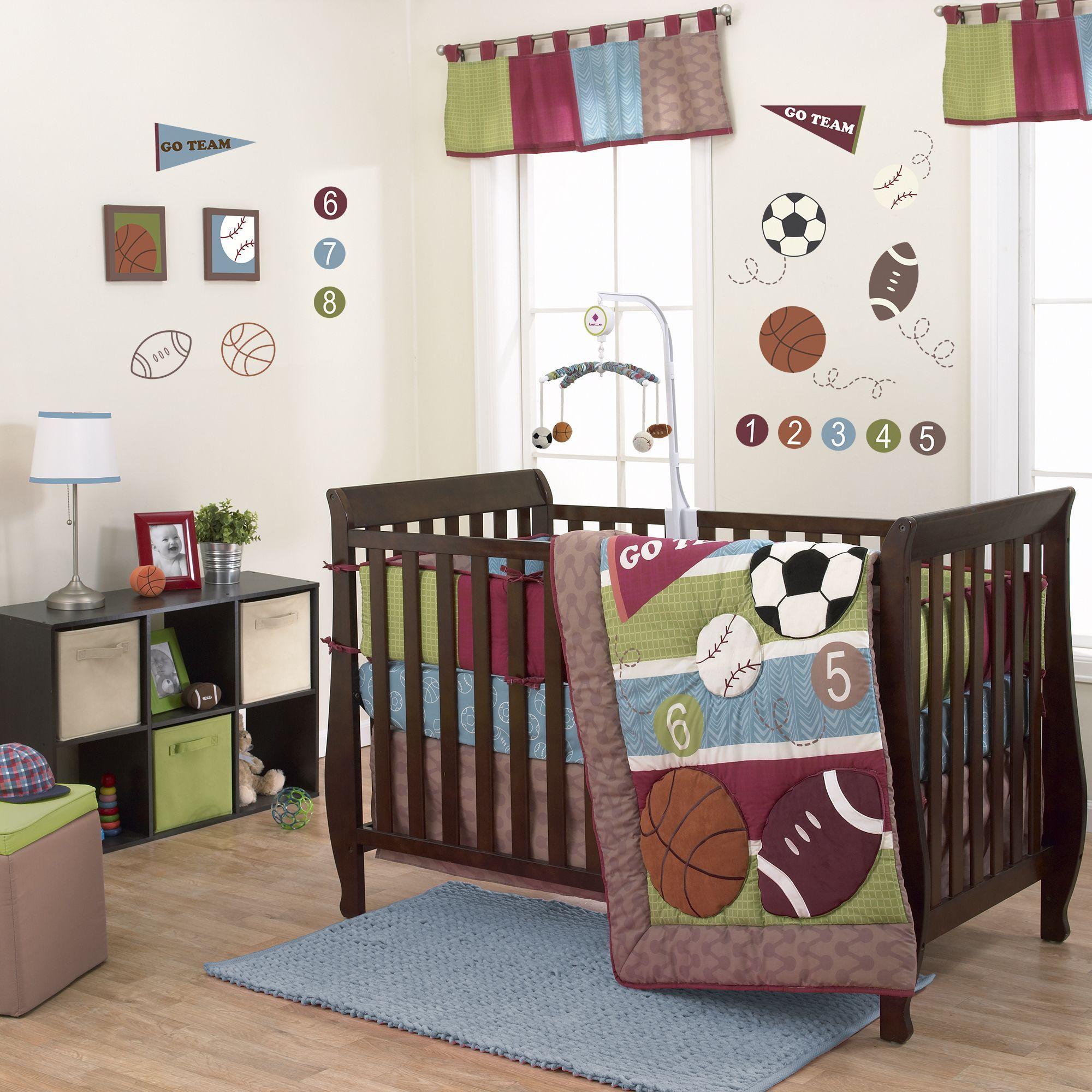belle sports star 3 piece boy crib bedding set