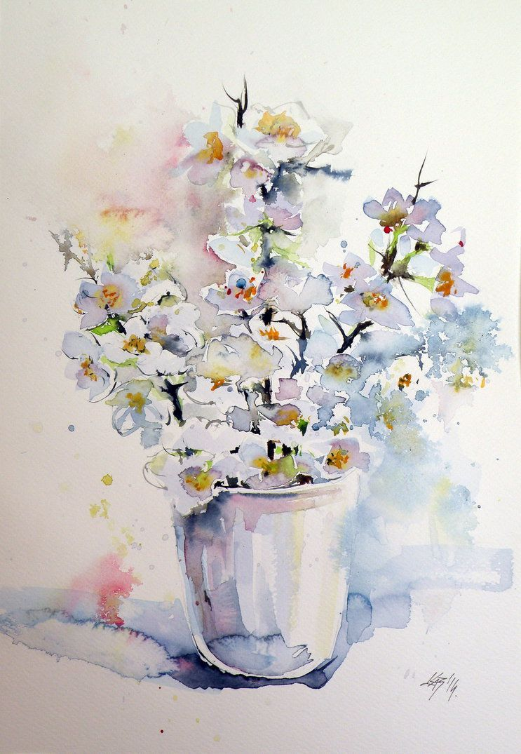 ARTFINDER: White flowers by Kovcs Anna Brigitta - Original watercolour  painting on high quality watercolour paper. I love landscapes, still life,  ...