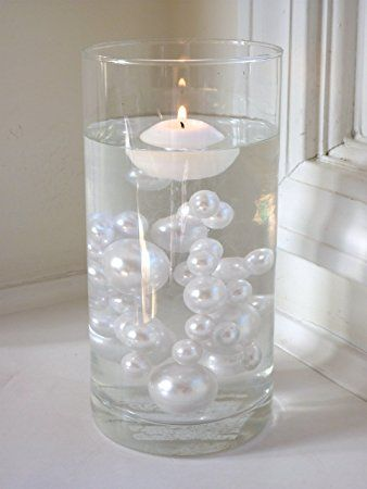 80 Jumbo Assorted Sizes All White Pearls Vase Fillers Value Pack
