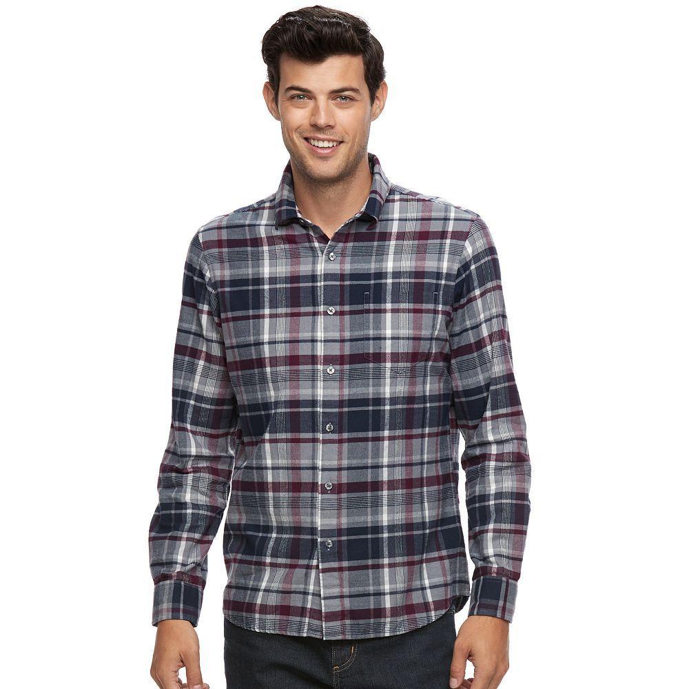 Big flannel outfits  Apt  Menus SlimFit Plaid Brushed Flannel ButtonDown Shirt
