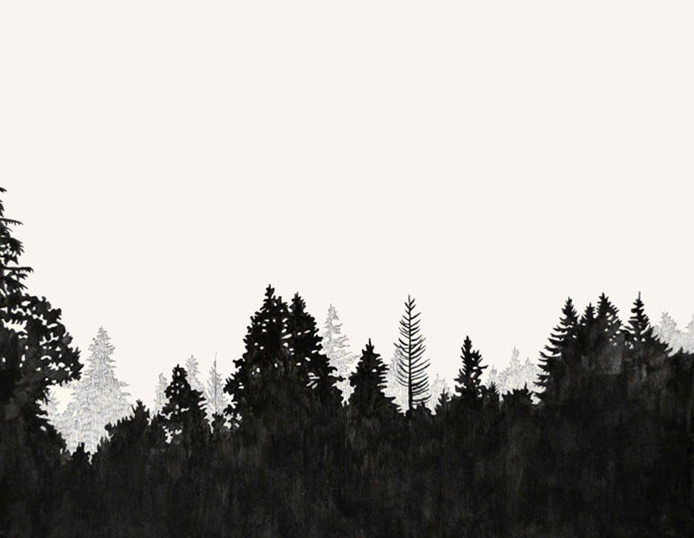 treeline for mural   Forest silhouette, Forest tattoos ...