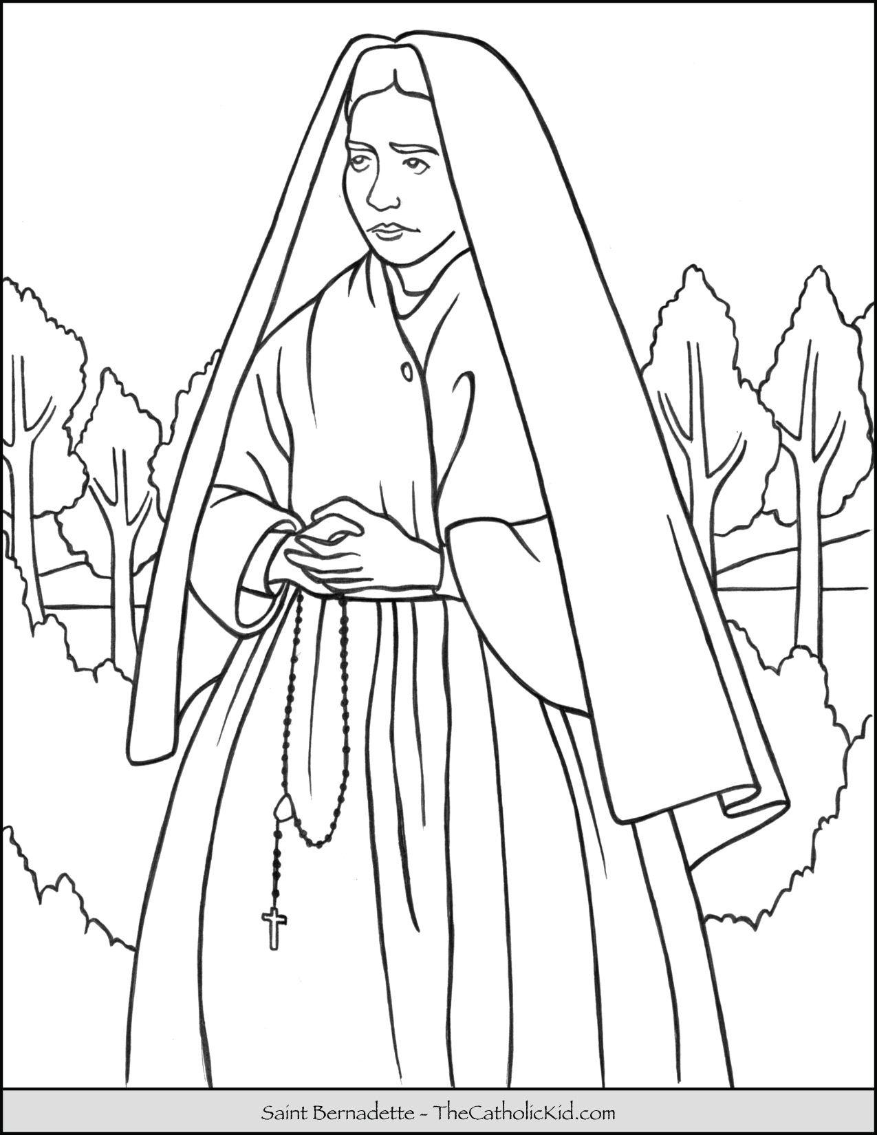 Saint Bernadette Coloring Page Thecatholickid Com Coloring Pages Catholic Coloring Saint Coloring