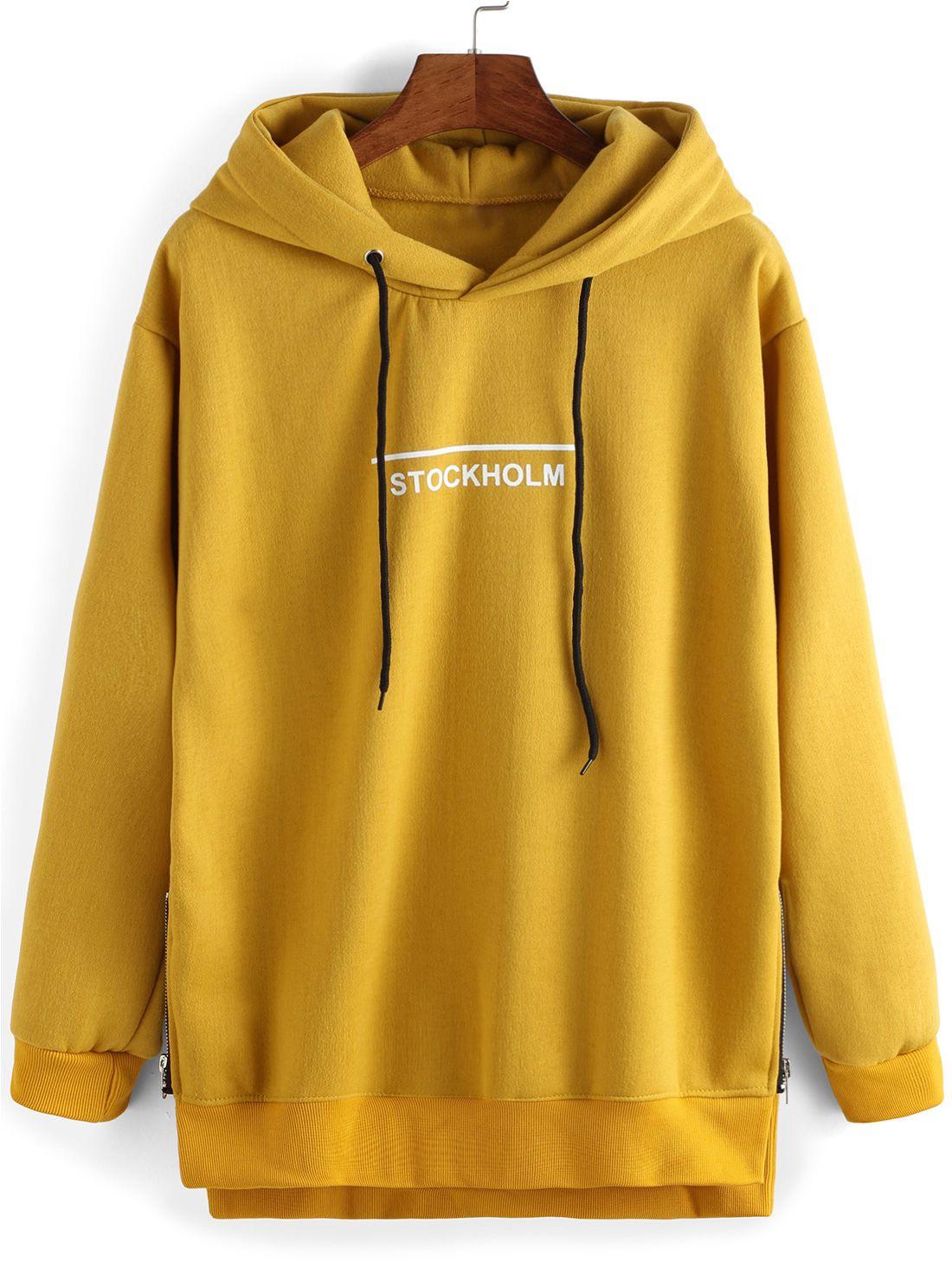 Boutique en ligne ea816 42839 Sudadera con capucha letras casual -amarillo 16.32   outfits ...