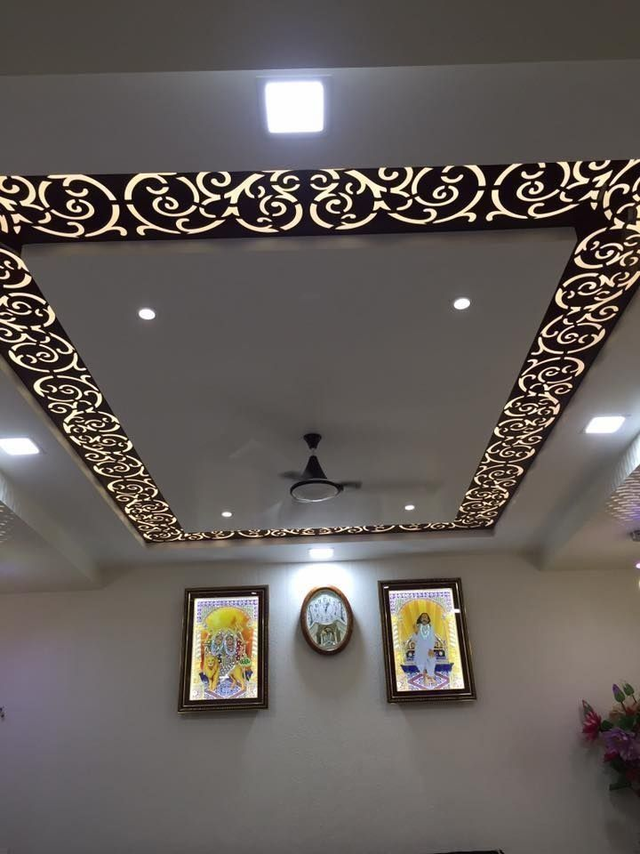 False Ceiling Designed with MDF Finish Jali & Recessed ...