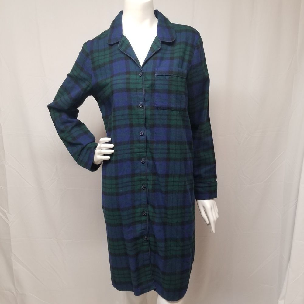 nwot LANDS END Womens S Plaid Flannel 100% Cotton Nightshirt Nightgown Blk  Watch  LandsEnd  Sleepshirt c915351a7