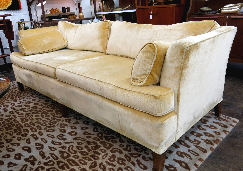 1960S Sofa With Original Champagne Velvet Upholstery
