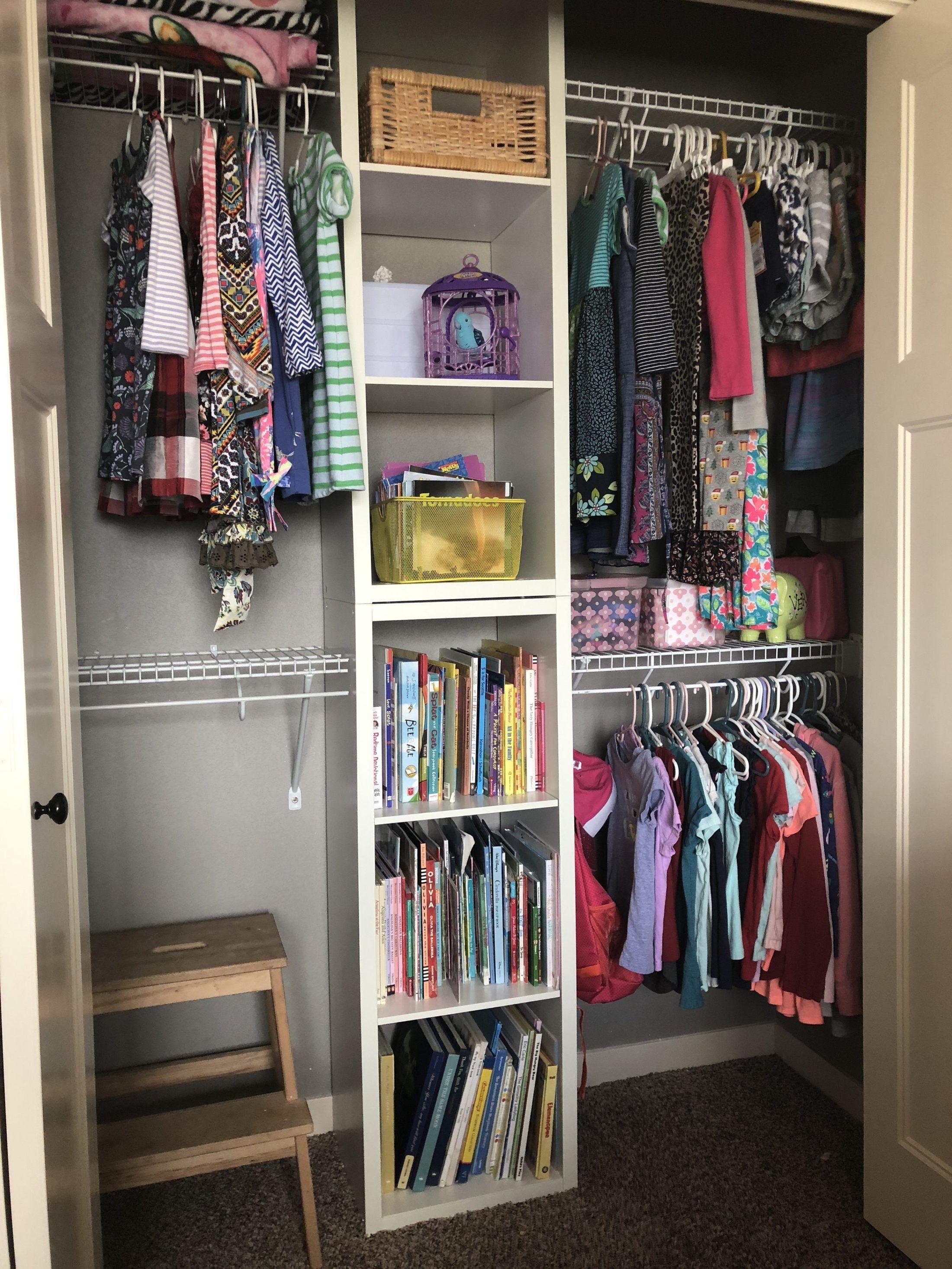 Shared Kids Closet Diy Organization System Bedroom Organization Closet Closet Small Bedroom Closet Organizing Systems