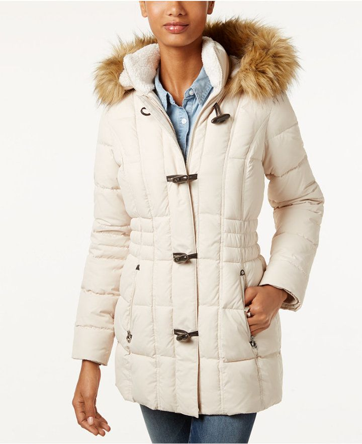 Laundry By Design Faux Fur Trim Toggle Puffer Coat Faux Fur Trim Coat Puffer Coat Coat