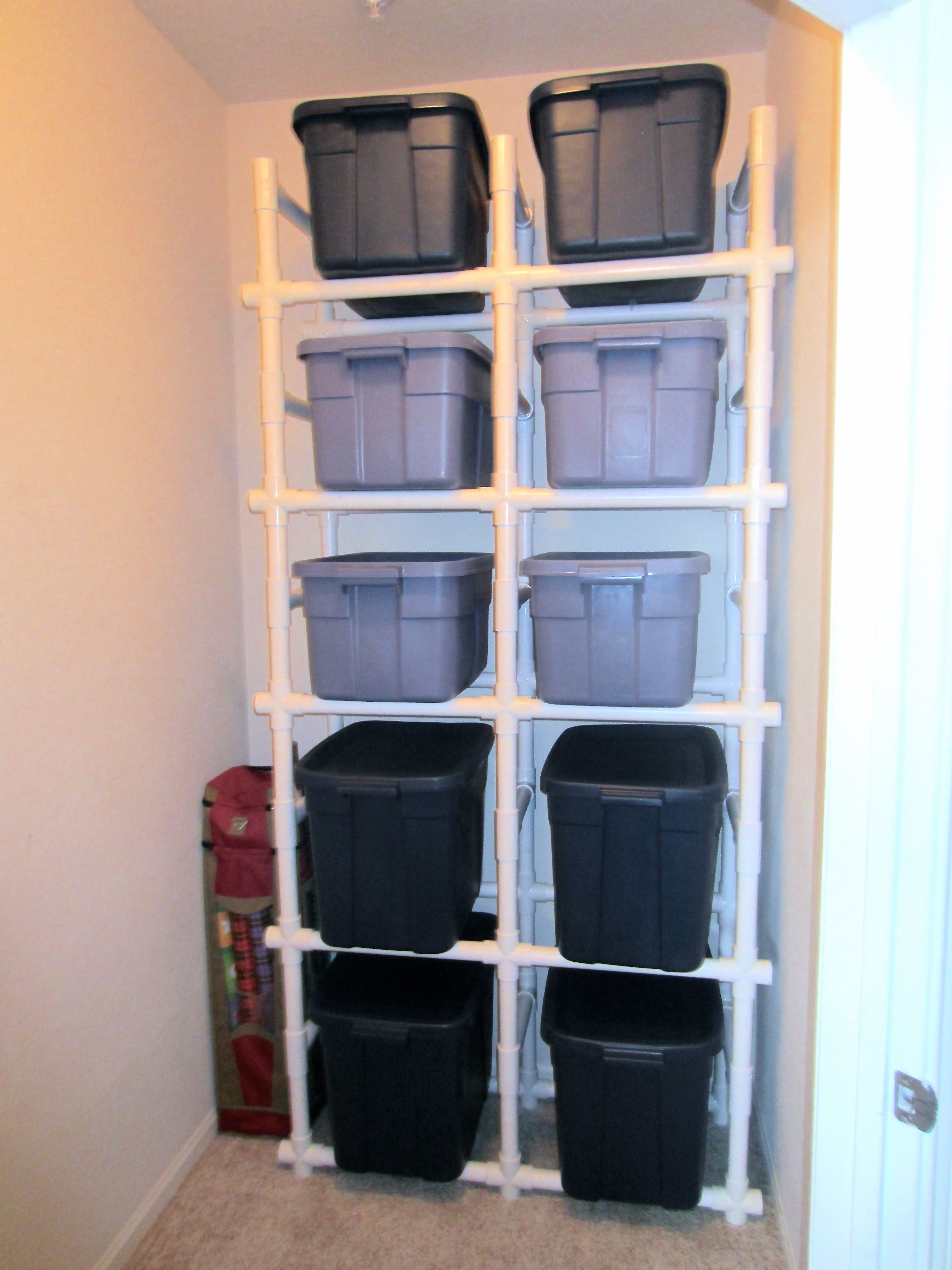 Behold The Final Product Pipe Closet Storage Room Diy Shelves