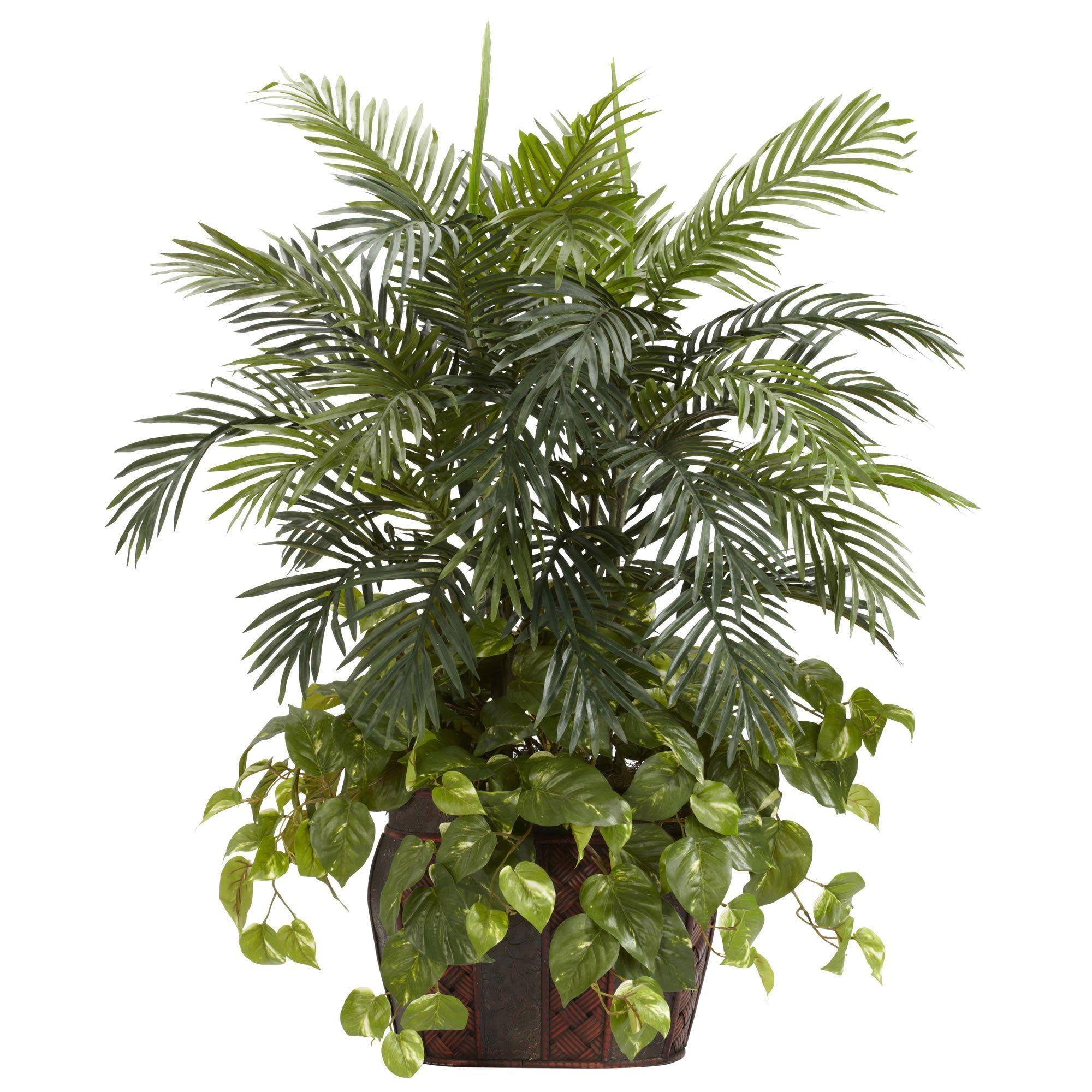 35 Double Areca Wvase & Pothos Silk Plant Great For