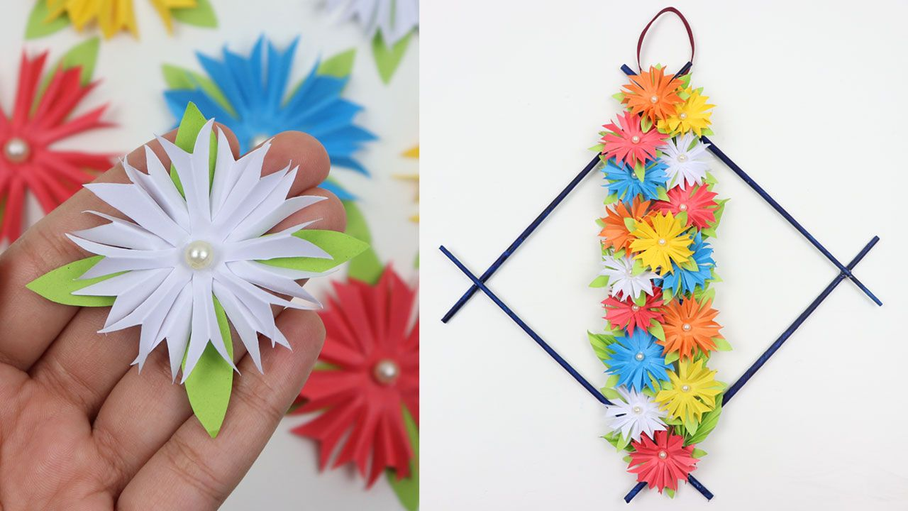 How To Make Diy Easy Paper Flowers Wall Hanging Beautiful Wall Decor