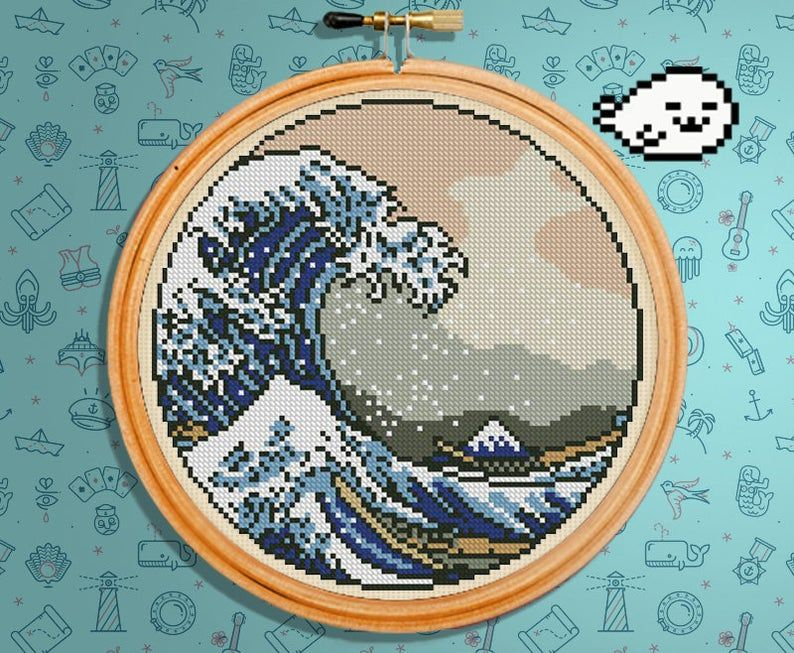 Great wave cross stitch pattern japan the great wave off