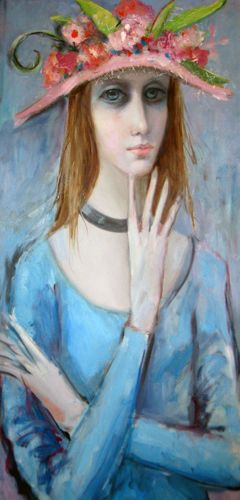 the paintings of margerat keane | New Hat by Margaret D. H. Keane, Original Painting, Oil Wash on ...