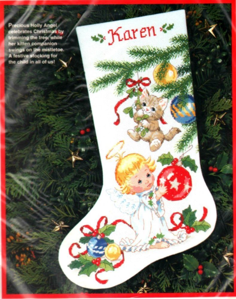 Dimensions Holly Angel & Kitten Cross Stitch Christmas