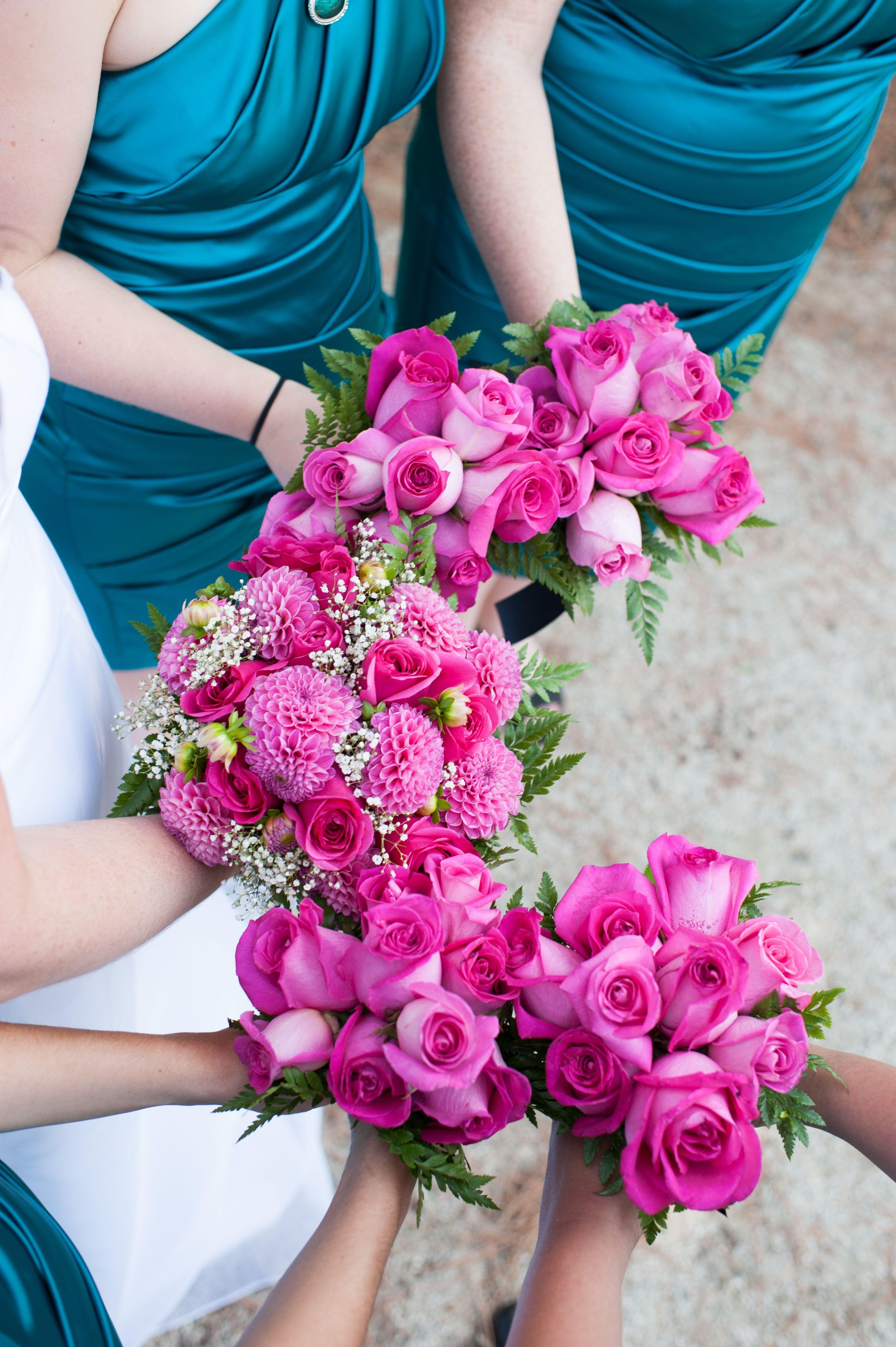 Teal (David\'s Bridal Oasis) and hot pink Bridal Party-Use the ...