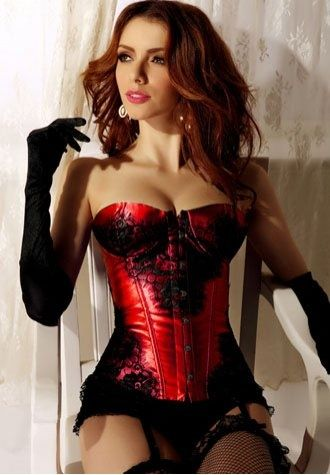 8de5031ec99ed Red and Black corset Black Stockings and Black Satin Gloves
