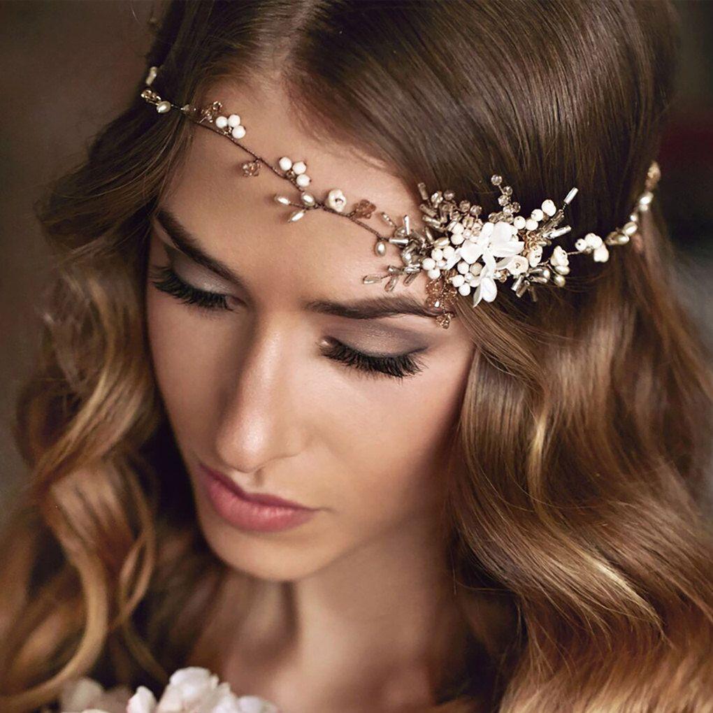 bridal hair vine - wedding hair vine - floral and leaf hair vine