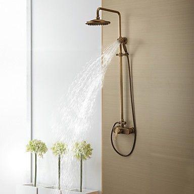 Antique Brass Tub Shower Taps With 8 Inch Shower Head Hand Shower