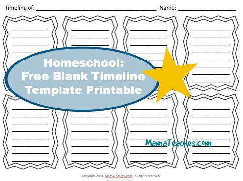 Homeschool Free Blank Timeline Template Printable  Timeline