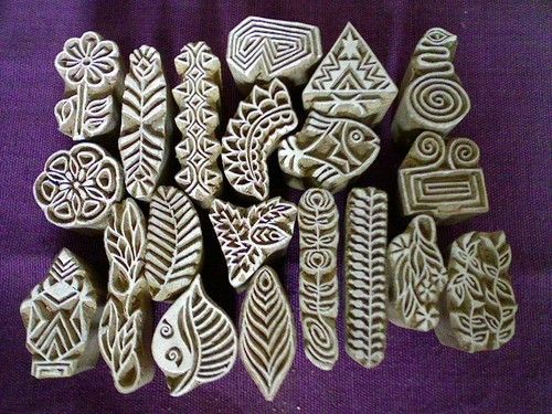 wooden hand carved stamps