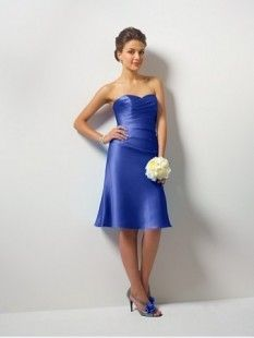 Simple Blue Satin Sweetheart Cocktail Prom Dress Of Knee Length Column