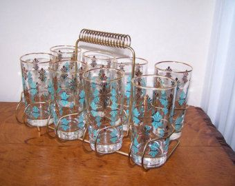 Elegant Mid Century Modern, Turquoise Gold Black, Set Of 8, Drinking Glasses,  Cocktail