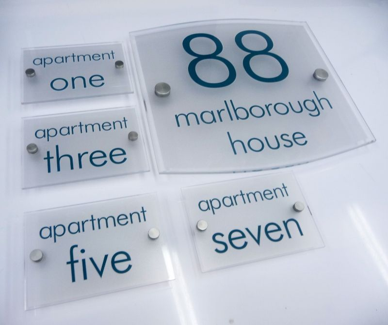 House name plate and apartment numbers for Apartment number design