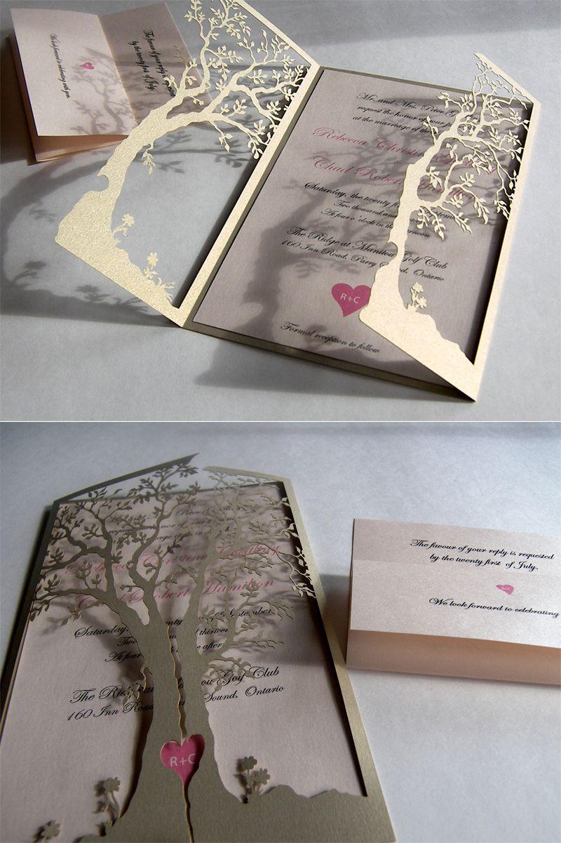 Love tree laser cut wedding invitation wedding invitation