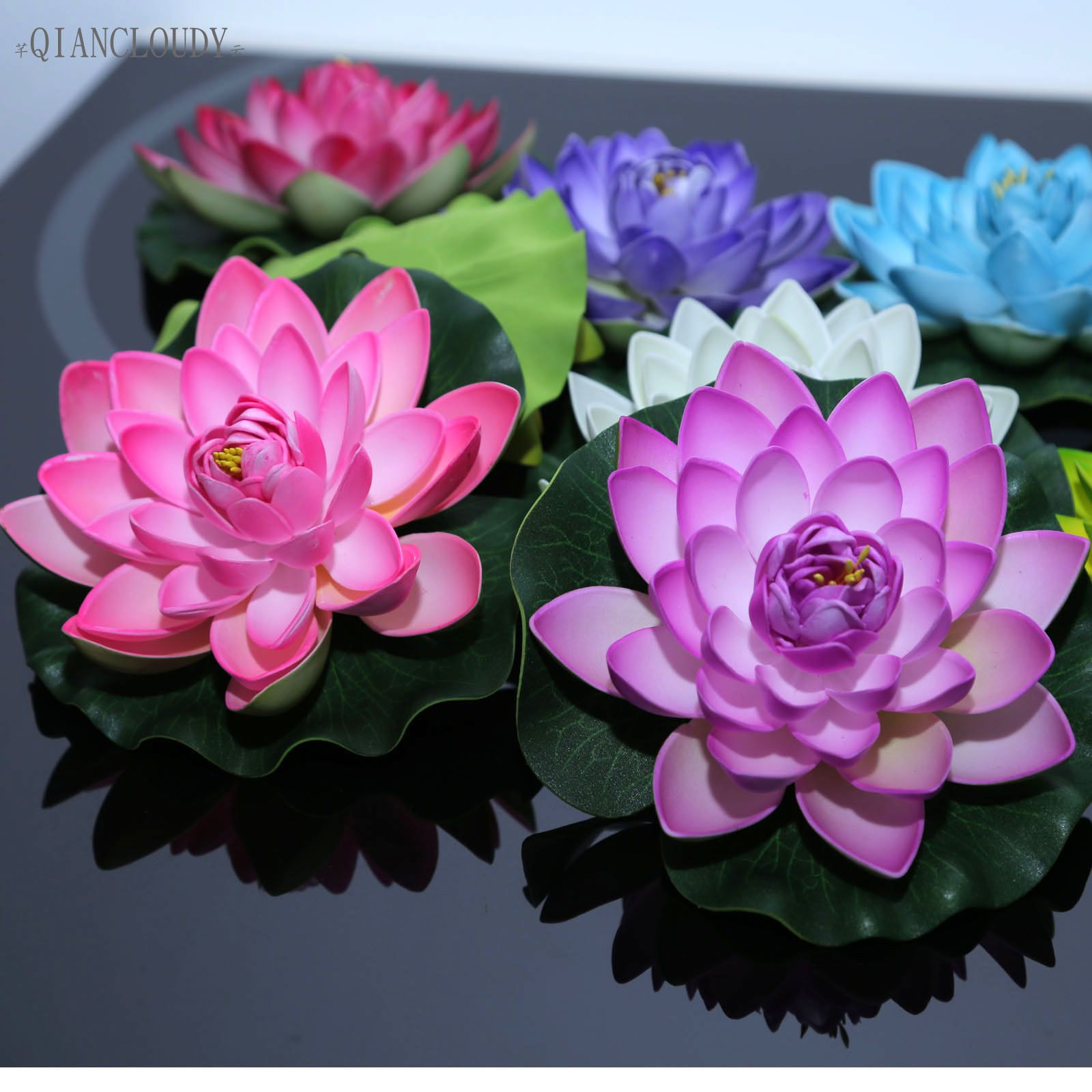 499 Gbp 5 Pcs 17cm Artificial Lotus Flower Lily Pad Floating Fish
