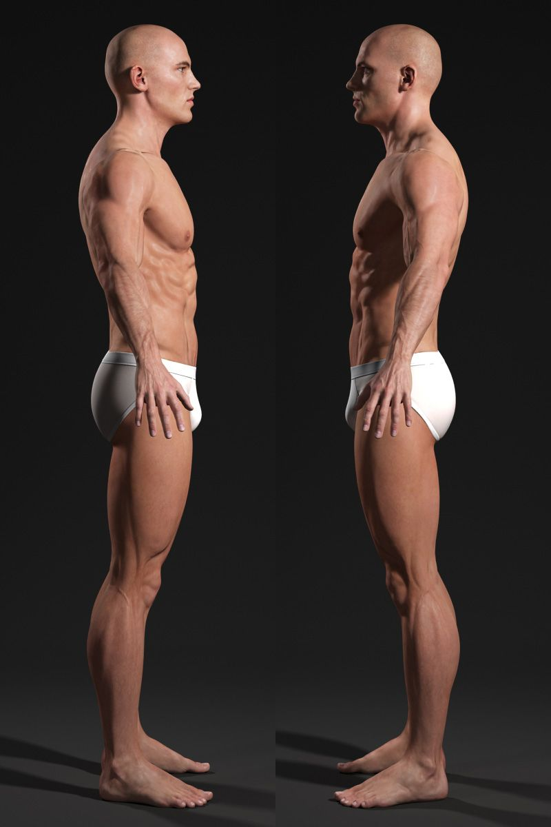 3d Male Body T Pose Side View Anatomy Pinterest Male Body