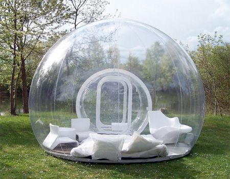 Inflatable lawn tent. Imagine laying in this when it's raining or at nights looking at the stars!