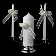 Organza Bow & Rose Unity Candle Set