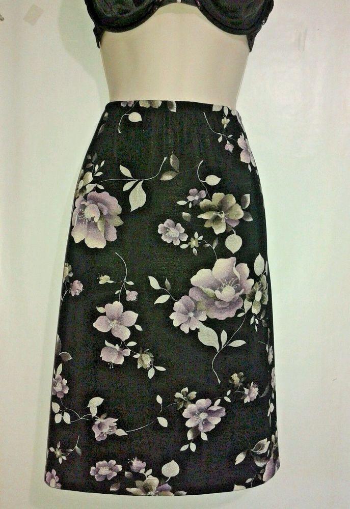 LA BELLE Black SKIRT Purple floral print Beach 2 Evening Wrinkle free Size M  #LaBelle #StretchKnitWrinkleFree