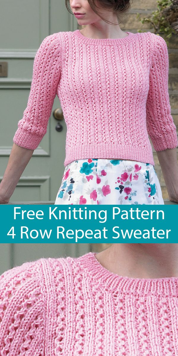 Photo of Free Knitting Pattern for Summer Palace 4 Row Repeat Sweater