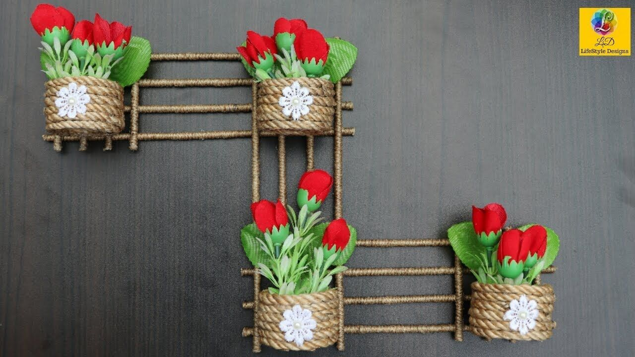 Diy Wall Hanging Flower Vase With Jute Flower Pot Using Jute Rope Wall Decor Jute Craft Idea Yout Diy Wall Hanging Flower Wall Hanging Crafts Jute Crafts