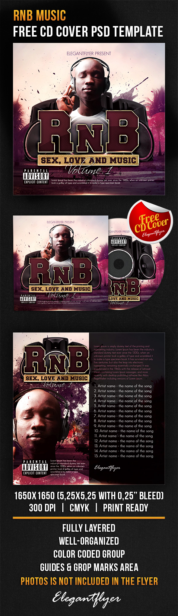 rnb music free cd cover psd template free cd dvd cover