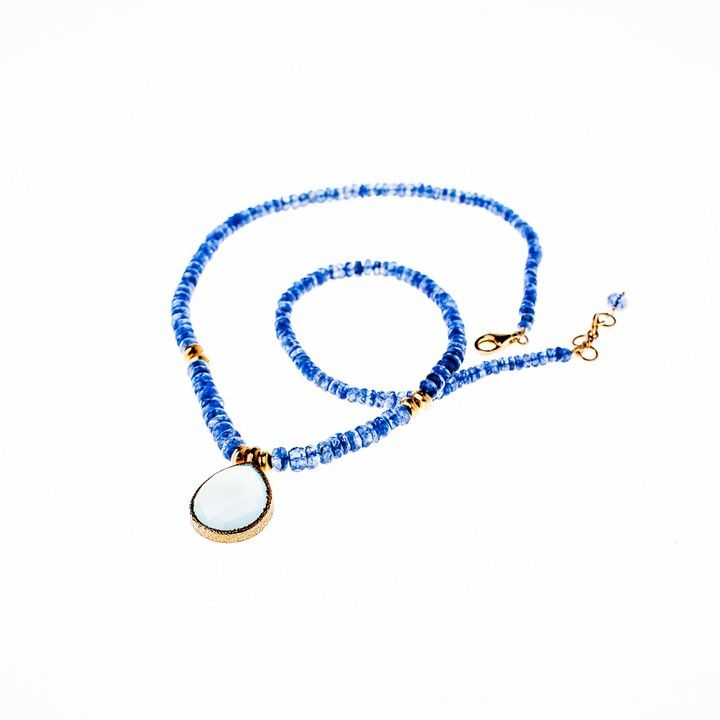 Kyanite Necklace with Chalcedony Pendant 24K Gold Vermeil Necklace from Wanderlust Jewels LLC for $530.00